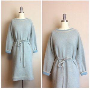 Vintage 60s 1960s Sky Blue Knit Sweater Dress